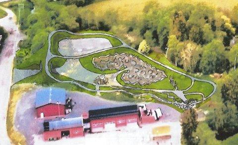 TEGNING: Parken er på fire mål og syklistene får et stort område å boltre seg på.