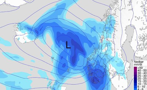 NEDBØR: Etter uker med høye temperaturer og minimalt med nedbør, kommer regnet til Sør-Norge for fullt på torsdag. (Faksimile/Meteorologene)