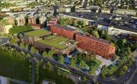LANG PROSESS: Det planlagte bade- og svømmeanlegget på Strømmen ut (med grønt på taket).