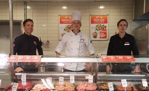 """""""Trekløveret"""" som lederskapsmodellen på Meny blir kalt, består av (fra venstre) daglig leder og kjøpmann Sten Egil Søberg, ferskvaresjef Kristoffer Fossøy og butikksjef Henrik Weberg."""