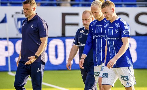 Hengehoder: Tom Freddy Aune, Geir Bakke, Lars Jørgen Salvesen og Jon-Helge Tveita henger med hodet etter 1-3-tapet for Ranheim.