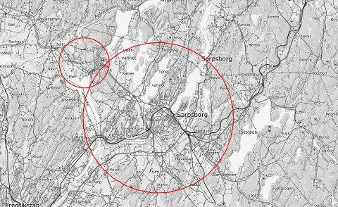 FORBUD:  Ifølge Saftofly.no er det innført flyforbud over deler av Sarpsborg det neste døgnet.