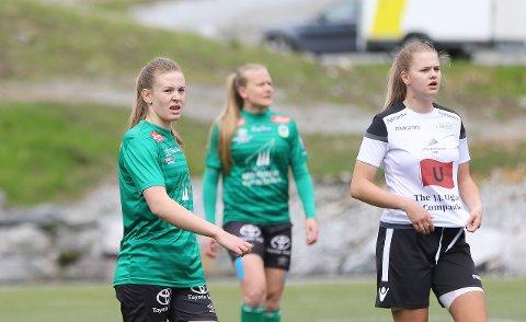 TUNGT: Nora Henjesand og Kaupanger vann 1-0 mot Amazon Grimstad i mai. Sidan den gong har laget spelt ti strake kampar utan å vinna.