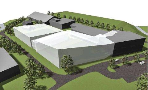 RIVER OG BYGGER: Den nye svømmehallen skal bygges der Urædd-hallen står i dag. Dette er en tidligere skisse av det nye anlegget.