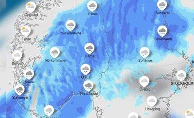 NEDBØR: På tirsdag kan vi vente oss en mellomting av snø og nedbør. Det kan føre til mye slapseføre for bilistene. Jo mer blått kartet er, desto flere millimeter med nedbør vil det komme. (Illustrasjon: Meteorologisk Institutt)