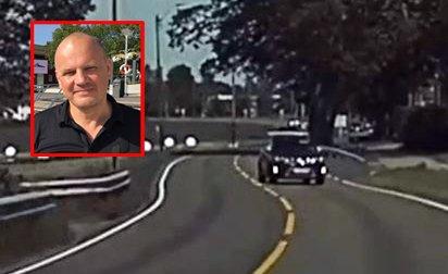 I MOTSATT KJØREFELT: Her kommer bilen i full fart mot Jon Anders Aas-Haug. Se video i bunn av saken.