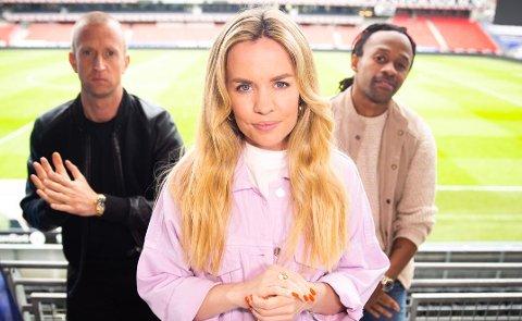 1 Ut av komfortsonen: Silje Larsen Borgan startet som ungdomsreporter i Amta, denne sesongen er hun Idol-dommer på TV2. Her med meddommerne Gunnar Greve og Tshawe.