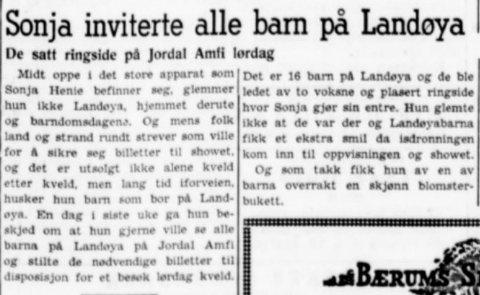 """UTSOLGT, UTSOLGT: """"Og mens folk land og strand rundt strever som ville med å sikre seg billetter til showet, og det er utsolgt ikke alene kveld etter kveld, men lang tid i forveien, husker hun barn som bor på Landøya,"""" skrev Budstikka 31. august 1953."""