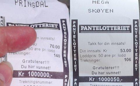 MILLIONÆRER: Sist lørdag ble det hele to vinnere i Pantelotteriet.
