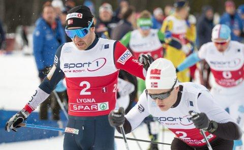 Sjur Røthe (til venstre) og Vebjørn Turtveit tok bronse for Voss under sprint lag i NM på Lygna i torsdag.