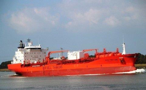 Tre personer omkom etter at Odfjells kjemikalietanker Bow Fortune og en fiskebåt i Texas kolliderte 15. januar. Nå er det reist søksmål mot shippingselskapet. Arkivfoto: Odfjell / NTB scanpix