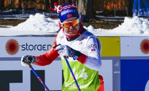 Sjur Røthe under på trening i skianlegget i VM-byen Oberstdorf.