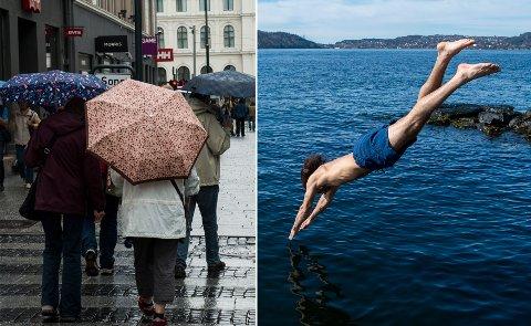 Det blir store kontranster mellom Oslo og Bergen de neste dagene. For ordens skyld: badingen bør gjøres på Vestlandet.