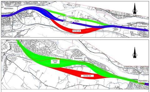 Jernbaneplaner: Bane Nor går inn for å legge dobbeltsporet i korridor sør, som her er merket med rødt i kartet.