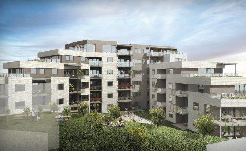 43 LEILIGHETER: Leilighetene vil bli fordelt på tre blokker ved Sundmoen i Hokksund. Det høyeste bygget blir totalt på 22 meter. Leilighetene varierer fra 43–124 kvm. Ill: Arkitektgruppen Drammen AS