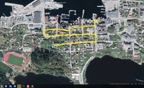 7-TOGET: Startar ved Florø kyrkje og går rett austover Hans Blomgata (Skolegata), ned Torggata og vestover igjen til Fram, ned Fugleskjærsgata og austover Strandgata til Torget.
