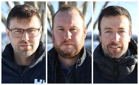 OPPGITT: F.v: Øyvind Mjønerud i FAU Stavang skule, Håkon Furelid, FAU Steinhovden skule og Bjarte Jakob Eikevik ved Stavang skule opplever at prosessen kring nedlegginga av skulane deira er for dårleg.