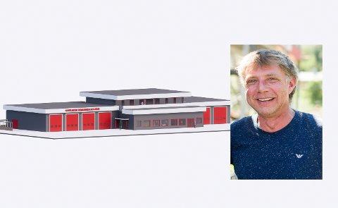 PLANANE KLARE: Byggmeister Jostein Eimhjellen har fått avklart korleis brannstasjonen i Svelgen skal utformast, men legg opp til ekstra areal til andre formål i tillegg.