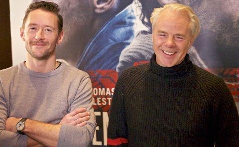 Hovedrollehaveren Thomas Gullestad(til venstre) og regissør Harald Zwart på lanseringen av Den 12. mann.