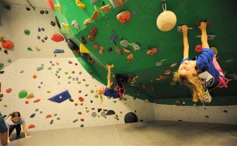 OPP: Ungene storkoste seg i klatreveggen.