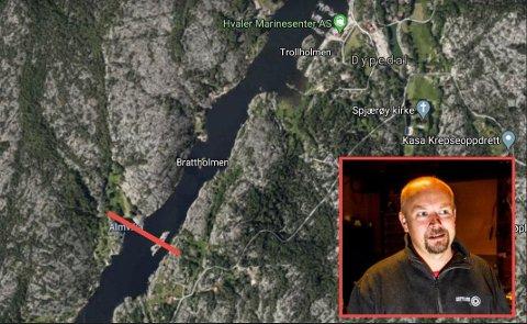 Den røde streken viser grovt hvor høyspentkablene skal krysse Skjelsbusund som luftstrekk. Tidligere høyspentledninger er plassert på sjøbunnen.  Lars Egil Lande er Høyre-politiker som mener at  noen har sovet litt i timen.