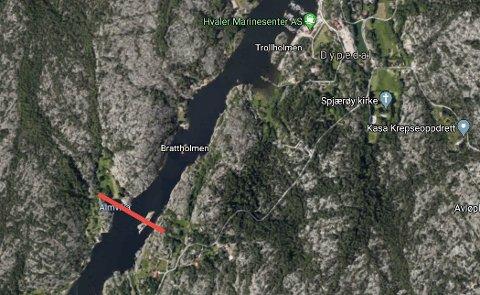 Høyspentkablene over Skjelsbusund er planlagt der den røde streken går.