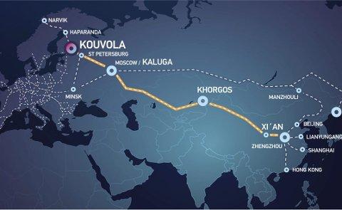FISKETOG: I dag går det godstog mellom Kina og Kouvola i Finland. Målet er å forlenge forbindelsen helt til Narvik. Ny teknologi gjør det aktuelt å fylle togene fra Narvik med nordnorsk oppdrettslaks. ILL. Kouvola Innovation
