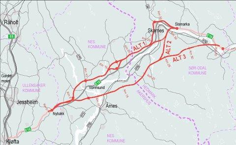 NY E16: Slik har Nye Veier tidligere antydet mulige alternativer for den nye E16-traseen mellom E6 og Kongsvinger. Men nå starter prosessen der de fire kommunene skal lage et forslag til ny trasé.