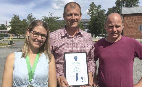 Halden-firmaet Salcape vant delfinalen i ClimateLaunchPad. – Dette kan være starten på et stort industrieventyr, sier fra venstre: Heidi S. Nygård, Henrik Lid Scharff og Espen Olsen.