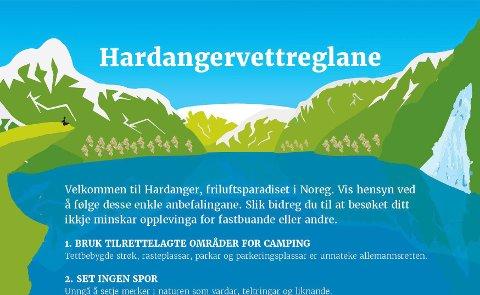 No har Hardanger fått sine eigne Hardangervettreglar. Dei skal hjelpa både tilreisande og innbyggjarane i Hardanger. Illustrasjon: Visit Hardangerfjord