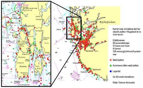 Ulykker til sjøs i Rogaland de to siste årene. (Kart: Telenor Kystradio, bearbeidet av Haugesunds Avis)