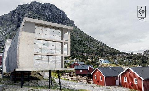 SKISSE1: Slik skal det se ut, den nye hotellfløyen til Lovund RorbuHotell, som arkitekt Anita Valrygg har tegnet. Nybygget skal stå ferdig rundt månedsskiftet mars-april neste år.