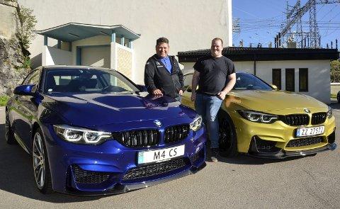 DUELL: Robert Nilsskog kjører en BMW M4 Club Sport (CS), mens Daniel Hilstad har en M4 Competition. Sammen er de dynamitt på veien. Foto: Trond Isaksen