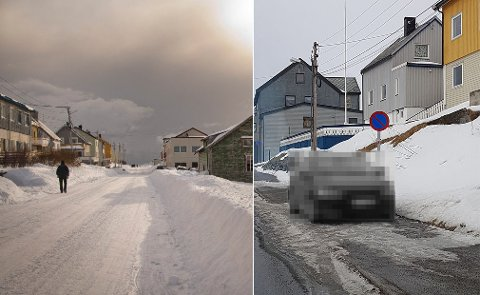 HAVØYSUND: Jan Robert Nergård tok bildet av bilen til høyre på bildet. Han irriterer seg enormt over parkeringskulturen i bygda.