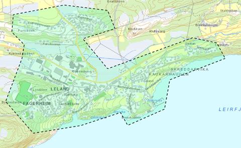 UTBYGGING: Planlagt område for utbygging på Leland.