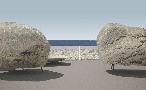 GODKJENT FORSLAG: Store, lokale steinar på stålføter skal bidra til opplevinga av utsiktspunktet på Hårr, ifølgje prosjektet som er teikna av arkitektkontoret Manthey Kula og godkjent av Statens vegvesen.