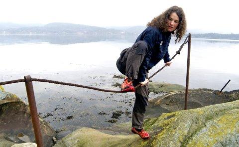 Forsering: Kristin Fredheim i Forum for friluftsliv i Vestfold i ferd med å forsere det omstridte gjerdet på Smørstein.foto: lars ivar hordnes