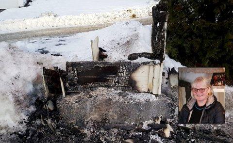 PÅTENT: Noen har satt fyr på postkassestativet til Irene Glosli (innfelt) i Eidsfoss.