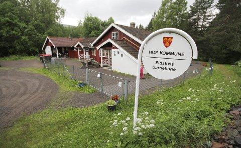 NOK EN GANG: Eidsfoss barnehage har levd farlig i en årrekke. Nå ligger et forslag om nedlegging nok en gang på politikernes bord. Arkivfoto: Jarl Rehn-Erichsen