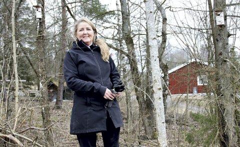 TRE KASSER OPPE: Christina Berg har satt opp tre fuglekasser på sin eiendom i Gurannveien. – Våre fuglekasser er ikke spesielt fine, men vi har fått en innflytting allerede, sier Berg. Foto: Lars Ivar Hordnes