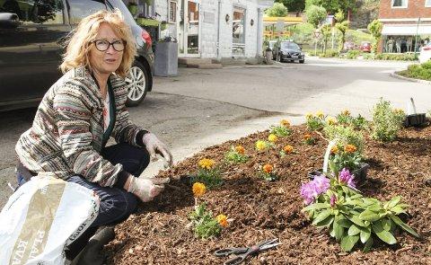 PYNT I GATA: Margarita Zacharova sørger for beplantningen foran gjenåpningen av Børretzen pub. Begge foto: Lars Ivar Hordnes