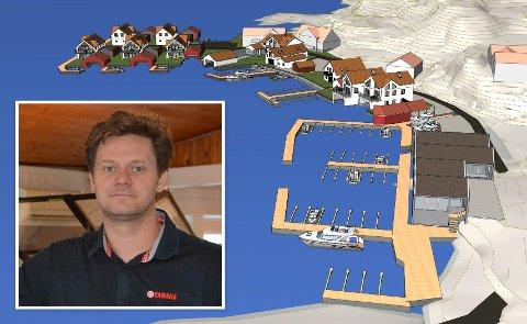 Andreas Klausen i Marina Service ønsker å bygge ut dette området på Øya til blant annet boliger og ny båtforretning.  Klikk på pila eller sveip for å se flere bilder.
