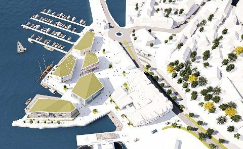 SKISSE: Slik kan Jernbanekaia bli seende ut fra lufta, om Kragerø Utvikling får det som de vil. illustrasjon: A-LAB AS