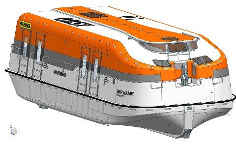 Per i dag er det ikkje produsert livbåtar med større kapasitet enn denne, Palfinger Marine sin MPC 49. At den kan ta 440 personar skal bevisast 20. april. Livbåten er større enn ein Jumbojet, og produsert ved fabrikken i Ølve. (Foto: Palfinger Marine).