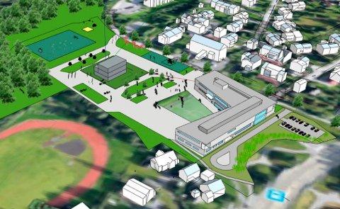 SKOLEBYGG: Illustrasjonen viser skolens beliggenhet. Merk at tegningen ikke viser endelig utforming. Gymsal-bygget ligger midt på plassen. Idrettsparken til venstre.