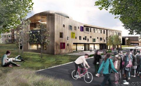 NY SKOLE: Slik presenteres nye Hoppern Skole av Jansen Arkitekter. Størrelsen på utearealene har blitt et hett tema