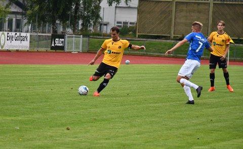 SCORING: MFK-kaptein Thomas Klaussen scoret MFKs eneste mål mot Eidsvold Turn lørdag.