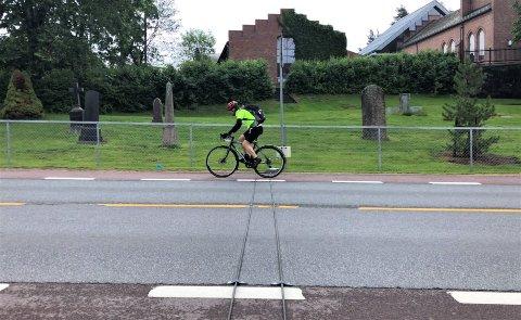 SKAL TELLES: Sykkeltelleren som ble satt opp i Ekebergveien ved Nordstrand kirke før sommeren er nå tilbake.