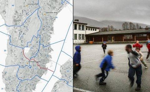 NYTT FORSLAG: Slik er den nye skissen for skolekretsene. Den røde linjen viser den nye kretsgrensen. Saken skal behandles av komiteen den 24. oktober og kommer opp i kommunestyret den 31. oktober. Foto: Arkiv