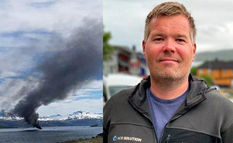 REDNINGSMANN: Jørgen André Antonsen (41) sprang til sin egen båt, dro ut og fikk berget over de tre personene fra den brennende båten i Kvalsundet lørdag.